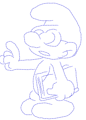 A drawing of a Smurf.